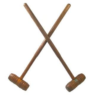 Antique English Croquet Mallets - A Pair