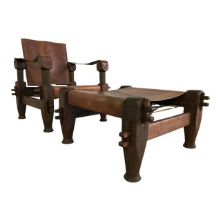 Vintage Rosewood and Leather Safari Chair & Ottoman - A Pair