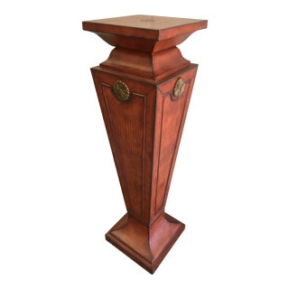 Leather Embossed Wooden Pedestal