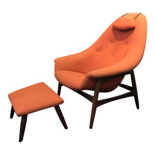 1960s Danish Lounge Chair & Ottoman