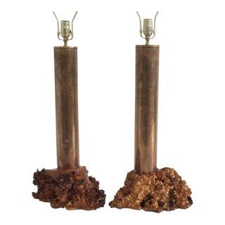 California Studio Modern Cylindrical Brass and Burl Wood Lamps