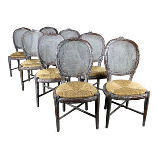 Vintage Faux Bois Carved Twig Dining Chairs - Set of 8