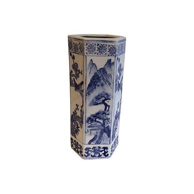 Chinoiserie Blue & White Vase - Image 1 of 3