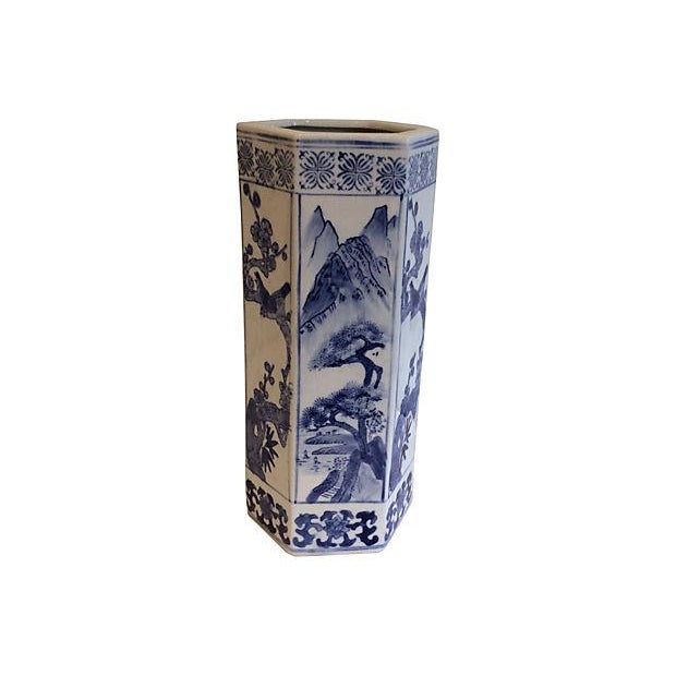 Image of Chinoiserie Blue & White Vase