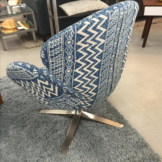 Image of Blue Indian Kantha Swivel Tulip Chair