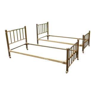 Antique Mission Style Brass Twin Beds - A Pair