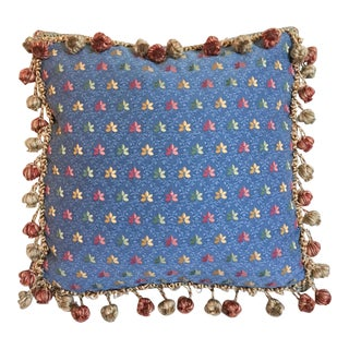 Embroidered Leaves Box Pillow with Onion Fringe