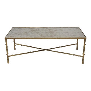Metal Rectangular Mirror Top Coffee Table