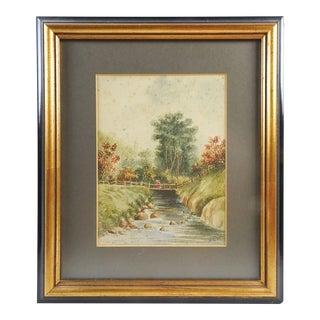 Rustic Wooden Bridge Watercolor Circa 1880's