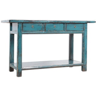 Vintage Turquoise Console Table
