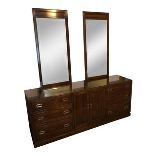 Vintage Ethan Allen Canova Cherry Campaign Style Dresser With Mirrors