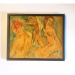 Image of Nudes on Green Background Painting by Gloria Mani