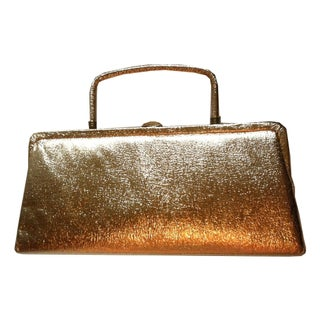 1960s Golden Glam Metallic Foiled Evening Bag
