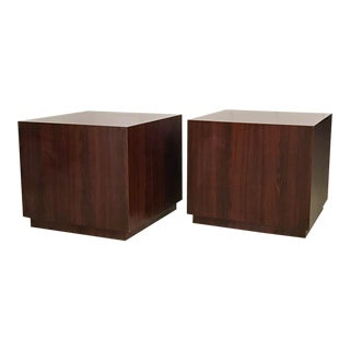 Mid Century Milo Baughman Rosewood Cube Tables - a Pair