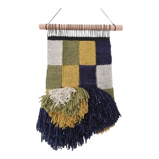 Navy, Grey, Green, & Mustard Wall Hanging