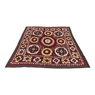 Antique Handmade Suzani Dark Red Tapestry