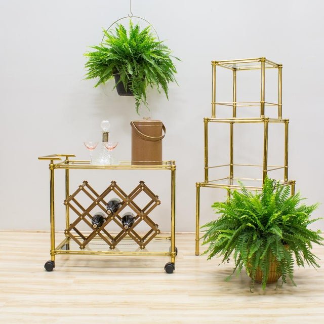 Image of Italian Brass & Glass Nesting Tables - Set of 3