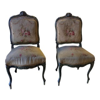 19th Century Antique French Aubusson Side Chairs - a Pair
