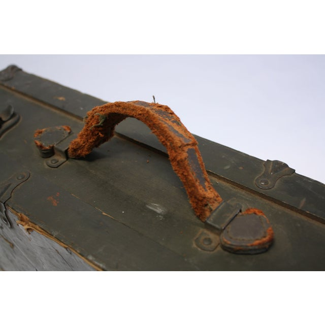 Vintage Army Green Radio Box Leather Handle - Image 5 of 7