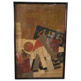 Early 20th Century Burlap Collage Wall Art