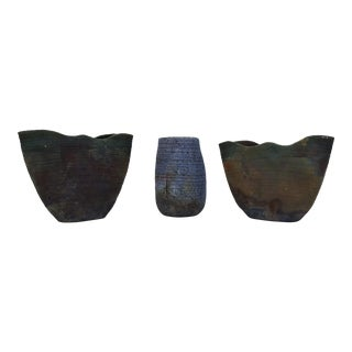 "70's ""Ruth Lalaine "" Raku Pottery Vases - Set Of 3"