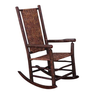 Monumental Old Hickory High Back Rocker with Open Cane Weave