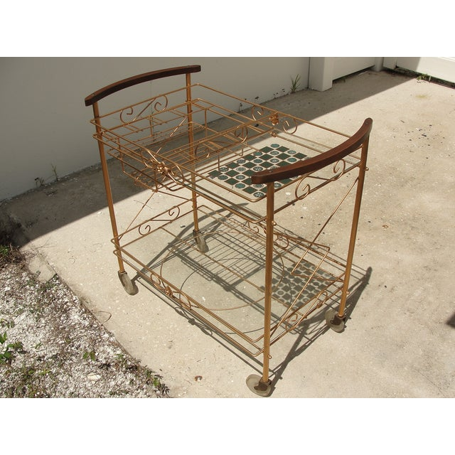 1950s Atomic-Style Rolling Bar Cart - Image 3 of 10