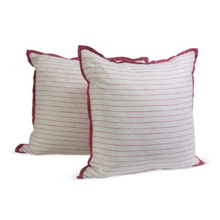 Pink Pinstripe Pillows - A Pair