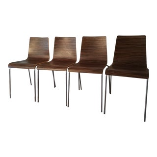 Modern Bent Plywood Stackable Chairs - Set of 4