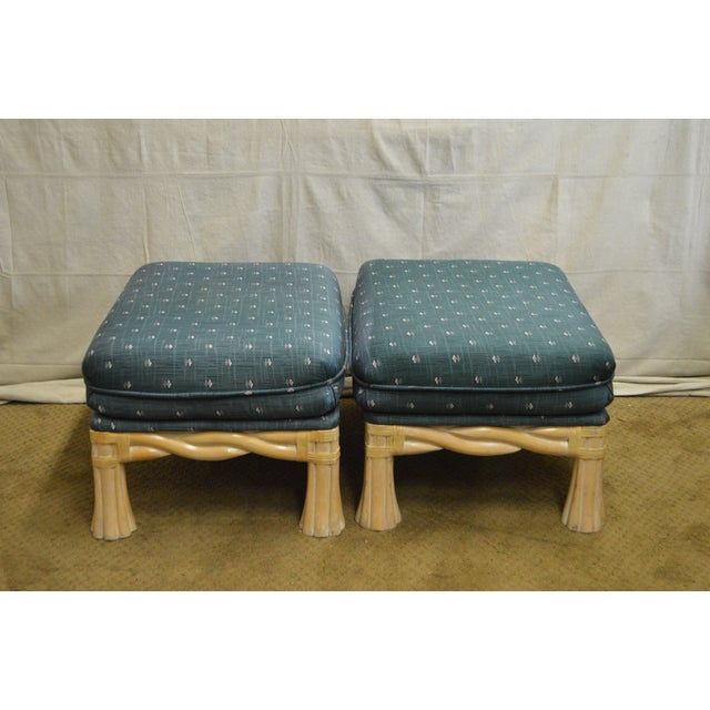 Lane Venture Pair of Twisted Rattan Ottomans - Image 3 of 11