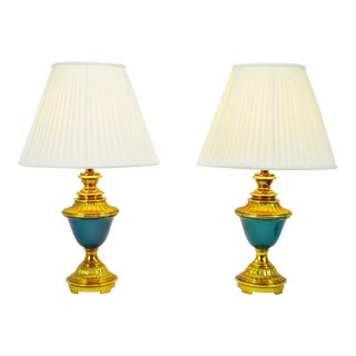 Vintage Ethan Allen Ceramic and Brass Table Lamps - A Pair