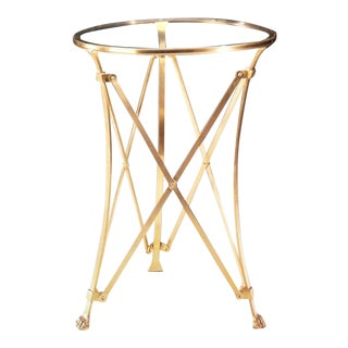 Two Solid Brass Modern Neoclassical End Tables Attributed to Maison Ramsay