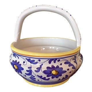 Italian Deruta-Style Terra Cotta Painted Basket