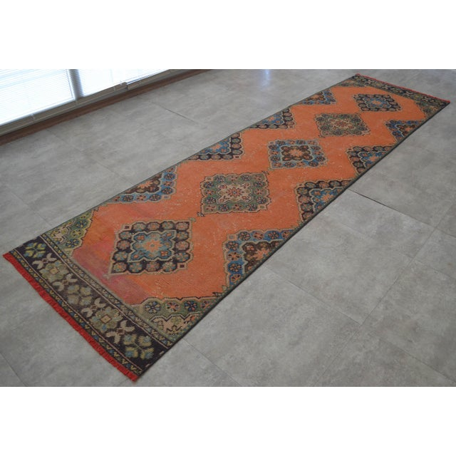 "Distressed Oushak Rug Runner Salmon Hallway Decor - 3' x 10'9"" - Image 3 of 10"
