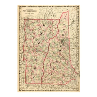 Antique Map of New Hampshire & Vermont, 1861