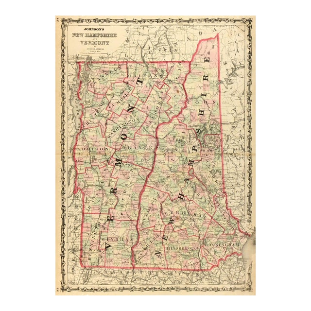 Antique Map of New Hampshire & Vermont, 1861 - Image 1 of 4