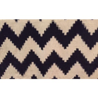 Ikat Dark Navy & Off-White Chevron Fabric