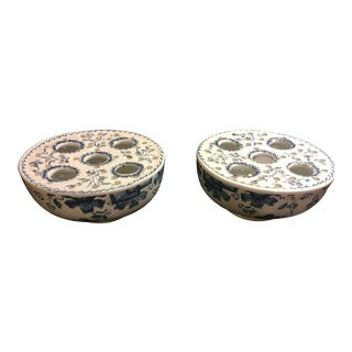 Mottahedeh Blue & White Flower Motif Planters by Mottahedeh - A Pair