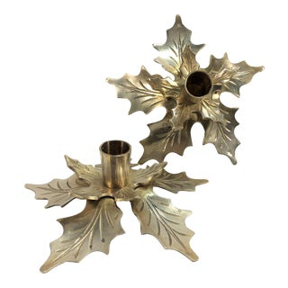Vintage Brass Candleholders - A Pair