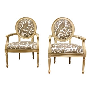 Taupe & Ivory Avery Chairs - a Pair