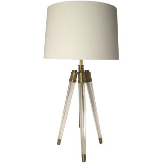 Acrylic & Brass Tripod Table Lamp