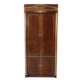 Mastercraft Burl Wood and Brass Lighted Bar Cabinet
