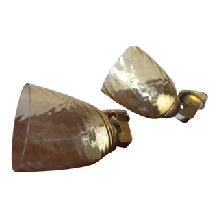 Mid-Century Glass and Brass Sconces - a Pair