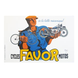 1937 French Vintage Bike Poster, Favor Bicycles and Motorcycles