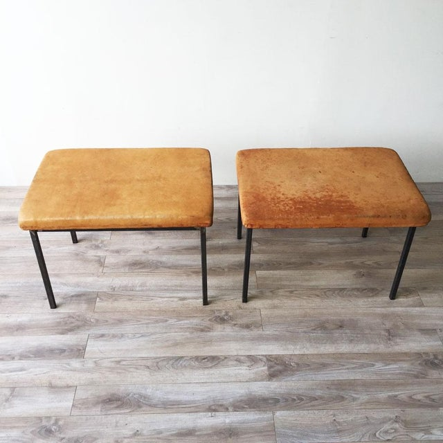 Image of Vintage Leather Benches - A Pair