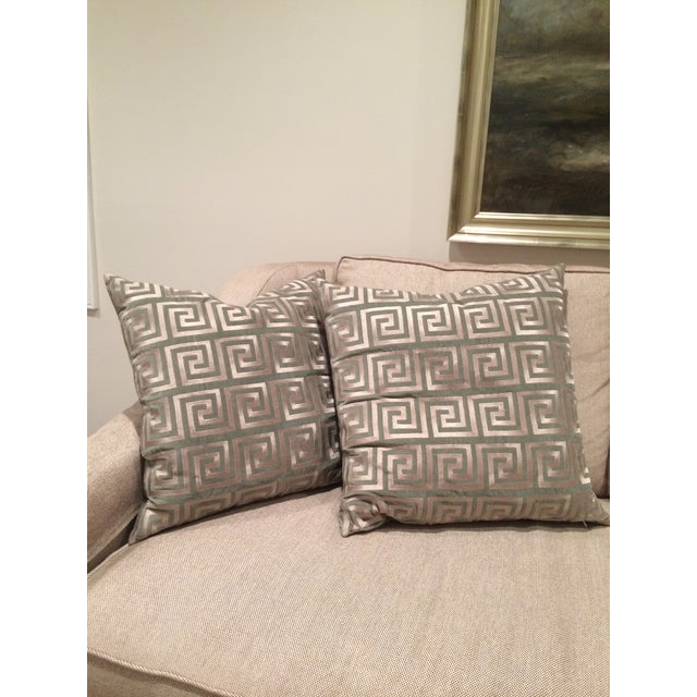 Greek Key Pillows - A Pair - Image 3 of 5
