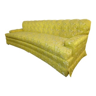 Vintage Mid-Century Modern Curved Front Yellow & Green Floral Sofa