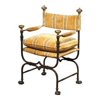 19th Century Italian Wrought Iron Campaign Armchair with Bronze Finials