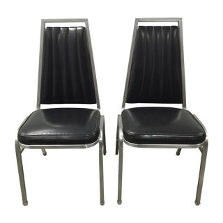 Vintage Black and Chrome Vinyl Chairs - A Pair