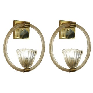 Stunning Pair of Large Barovier and Toso Sconces